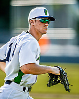 20 June 2021: Vermont Lake Monsters outfielder Sky Rahill, from Burlington, VT, heads out to right field during a game against the Westfield Starfires at Centennial Field in Burlington, Vermont. Rahill went 1 for 2 with a walk and a two-run homer in the 8th inning, accounting for all the home team scoring, as the Lake Monsters fell to the Starfires 10-2 at Centennial Field, in Burlington, Vermont. Mandatory Credit: Ed Wolfstein Photo *** RAW (NEF) Image File Available ***