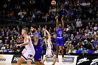 Kerwin Roach of the Wellington Saints shoots the ball during the round one NBL match between the Wellington Saints and the Canterbury Rams at TSB Bank Arena, Wellington, New Zealand on Friday 30 April 2021.<br /> Photo by Masanori Udagawa. <br /> www.photowellington.photoshelter.com