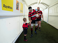 Reed Prinsep greets a ballboy before the Mitre 10 Cup rugby match between Canterbury and Auckland at Orangetheory Stadium in Christchurch , New Zealand on Sunday, 15 November 2020. Photo: Martin Hunter / lintottphoto.co.nz