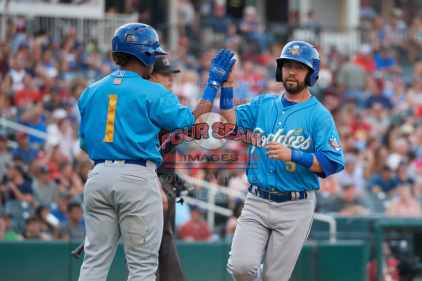 Amarillo Sod Poodles Peter Van Gansen (5) high fives Rodrigo Orozco (1) after scoring a run during a Texas League game against the Frisco RoughRiders on July 13, 2019 at Dr Pepper Ballpark in Frisco, Texas.  (Mike Augustin/Four Seam Images)