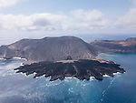 San Benedicto Island, Revillagigedos Islands, Mexico; an aerial view of the cinder cone and lava flow into the Pacific Ocean, from the 1952 volcanic eruption on San Benedicto Island