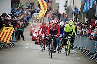 Thomas De Gendt (BEL/Lotto-Soudal) leads the breakaway up the famous Cote de Saint-Roche (1850m/6.3%)<br /> <br /> 102nd Liège-Bastogne-Liège 2016