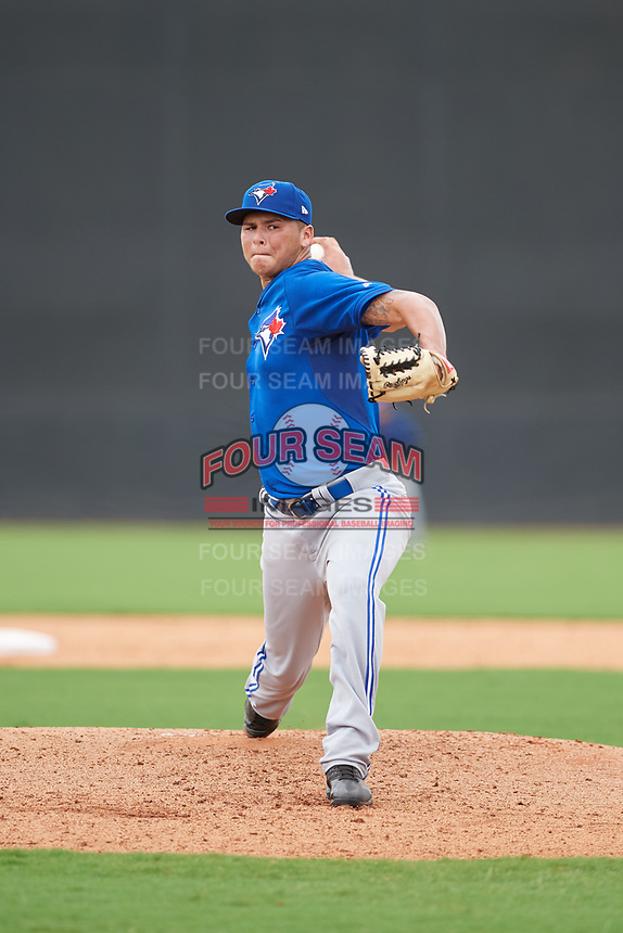 GCL Blue Jays starting pitcher Justin Maese (8) delivers a pitch during the second game of a doubleheader against the GCL Yankees East on July 24, 2017 at the Yankees Minor League Complex in Tampa, Florida.  GCL Yankees East defeated the GCL Blue Jays 6-3.  (Mike Janes/Four Seam Images)