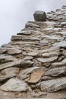 Peru, Machu Picchu.  Walkway to the Main Gate Entering the City.