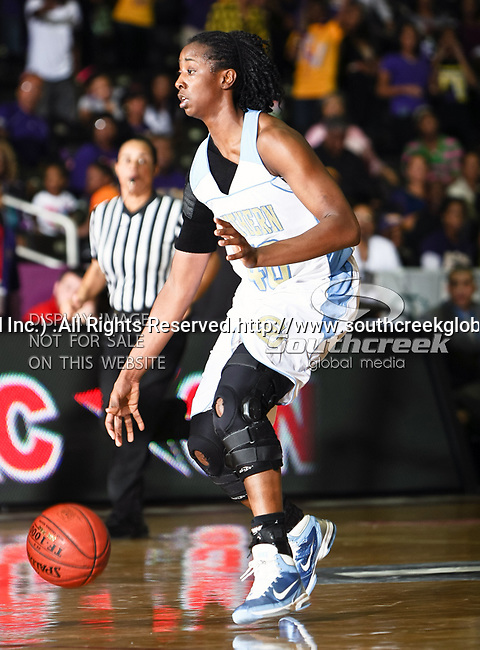 Southern University Jaguars forward Freda Allen (40) in action during the SWAC Tournament Championship game between the Prairie View A&M Lady Panthers and the Southern University Jaguars at the Special Events Center in Garland, Texas. Prairie View defeats  Southern 48 to 44