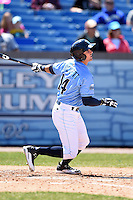 Wilmington Blue Rocks outfielder Daniel Rockett (14) at bat during a game against the Myrtle Beach Pelicans on April 27, 2014 at Frawley Stadium in Wilmington, Delaware.  Myrtle Beach defeated Wilmington 5-2.  (Mike Janes/Four Seam Images)