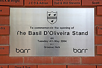 A sign commemorating the opening of the Basil D'Oliveira stand in 2004 during Worcestershire CCC vs Essex CCC, LV Insurance County Championship Group 1 Cricket at New Road on 2nd May 2021