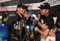 Nov 4, 2007; Pomona, CA, USA; NHRA top fuel dragster drivers Rod Fuller (left) and Larry Dixon during the Auto Club Finals at Auto Club Raceway at Pomona. Mandatory Credit: Mark J. Rebilas-US PRESSWIRE