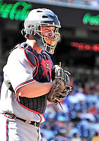 25 September 2010: Atlanta Braves catcher David Ross in action against the Washington Nationals at Nationals Park in Washington, DC. The Braves shut out the Nationals 5-0 to even their 3-game series at one win apiece. The Braves' victory was the 2500th career win for skipper Bobby Cox. Cox will retire at the end of the 2010 season, crowning a 29-year managerial career. Mandatory Credit: Ed Wolfstein Photo