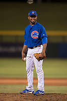 AZL Cubs 1 relief pitcher Fauris Guerrero (41) prepares to deliver a pitch during an Arizona League game against the AZL Diamondbacks at Sloan Park on June 18, 2018 in Mesa, Arizona. AZL Diamondbacks defeated AZL Cubs 1 7-0. (Zachary Lucy/Four Seam Images)