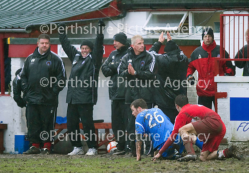 Brechin v St Johnstone....12.03.11  Scottish Cup Quarter Final.Jim Weir applauds as the Brechin bench celebrate a draw at full time.Picture by Graeme Hart..Copyright Perthshire Picture Agency.Tel: 01738 623350  Mobile: 07990 594431