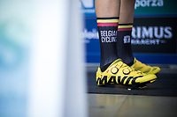 Tom van Asbroeck (BEL/Cannondale Drapac) for the occasion part of Team Belgium.. With the 2 cool assorted socks! <br /> <br /> Baloise Belgium Tour 2017 (2.HC)<br /> Stage 5: Tienen - Tongeren 169.6km