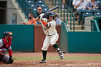 Kyle Wilkie (35) of the Greensboro Grasshoppers at bat against the Rome Braves at First National Bank Field on May 16, 2021 in Greensboro, North Carolina. (Brian Westerholt/Four Seam Images)