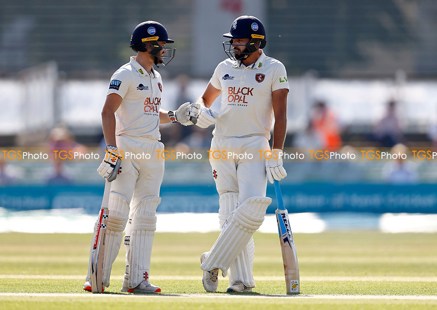 Ollie Robinson (L) and Jack Leaning of Kent mid wicket discussion during Kent CCC vs Worcestershire CCC, LV Insurance County Championship Division 3 Cricket at The Spitfire Ground on 5th September 2021