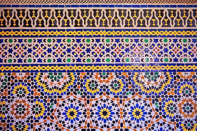 Berber Zellige decorative tiles inside the Riad of the Kasbah Telouet, Atlas Mountains, Morocco.