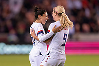 HOUSTON, TX - JANUARY 31: Christen Press #20 of the United States celebrates with Lindsey Horan #9 during a game between Panama and USWNT at BBVA Stadium on January 31, 2020 in Houston, Texas.