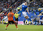 St Johnstone v Dundee United…22.08.21  McDiarmid Park    SPFL<br />Jason Kerr heads on a long Shaun Rooney throw<br />Picture by Graeme Hart.<br />Copyright Perthshire Picture Agency<br />Tel: 01738 623350  Mobile: 07990 594431