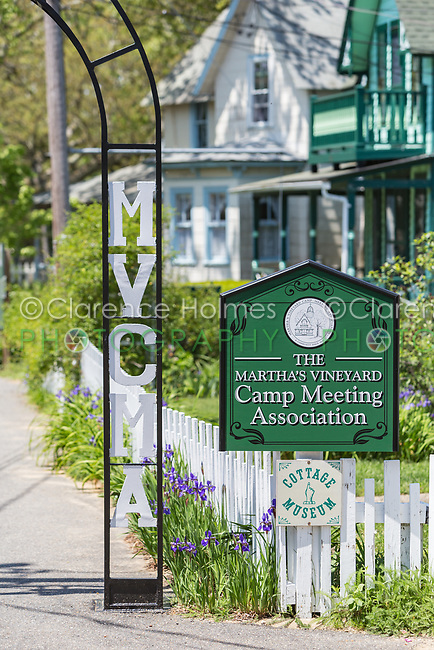 "A sign marks an entrance to the Martha's Vineyard Camp Meeting Association (MVCMA) aka ""Wesleyan Grove"" in Oak Bluffs, Massachusetts."