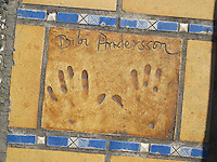 Hand print of the film star, Bibi Andersson, outside the Palais des Festivals et des Congres, Cannes, France.