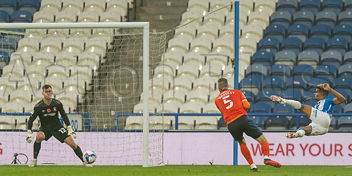 7th November 2020 The John Smiths Stadium, Huddersfield, Yorkshire, England; English Football League Championship Football, Huddersfield Town versus Luton Town; Fraizer Campbell of Huddersfield Town with a scissor kick volley shot