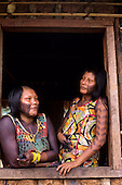 A-Ukre village, Brazil. Paiponu and Paingroti, two Kayapo women; Xingu Indigenous Area, Para State.