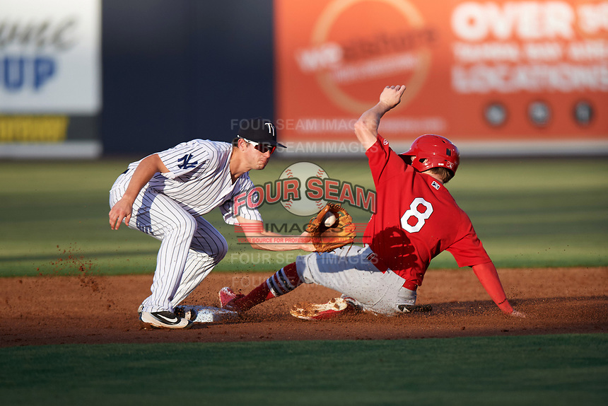 Tampa Yankees second baseman Nick Solak (39) catches a throw from the catcher as Thomas Spitz (8) slides safely into second during a game against the Palm Beach Cardinals on July 25, 2017 at George M. Steinbrenner Field in Tampa, Florida.  Tampa defeated Palm beach 7-6.  (Mike Janes/Four Seam Images)