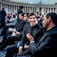 A group of priests from the Legionaries of Christ attend a service in St Peter's Square at the Vatican in Rome. The Legion of Christ is a conservative Roman Catholic congregation whose members take vows of chastity, obedience and poverty.