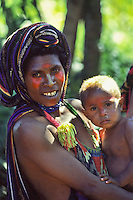 Oceania, Papua New Guinea, Pacific,Huli village, woman