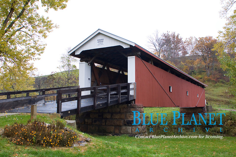 Rinard Covered Bridge. 130 ft in length. Built in 1875 over the Little Muskingum River in central Ohio (Washington County) near the town of Marietta, Ohio.