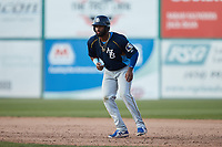 Jonathan Sierra (56) of the Myrtle Beach Pelicans takes his lead off of first base against the Lynchburg Hillcats at Bank of the James Stadium on May 23, 2021 in Lynchburg, Virginia. (Brian Westerholt/Four Seam Images)