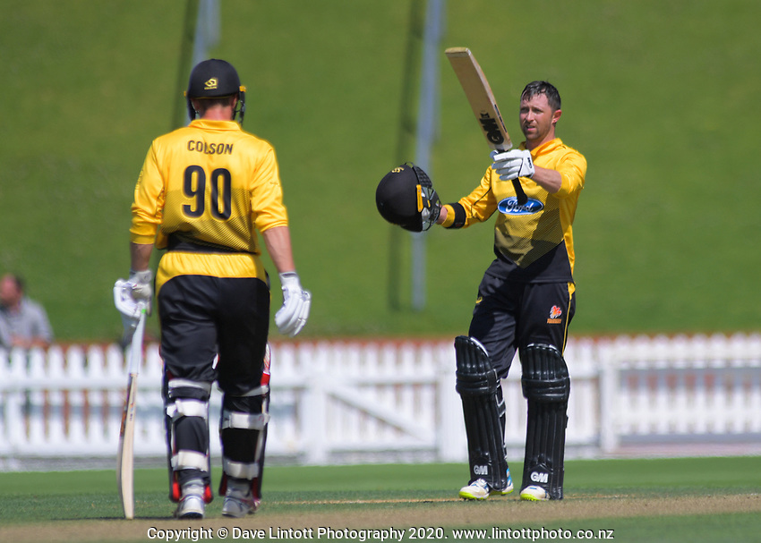 Devon Conway celebrates his century during the Ford Trophy one-day cricket match between the Wellington Firebirds and Central Stags at Basin Reserve in Wellington, New Zealand on Wednesday, 5 February 2020. Photo: Dave Lintott / lintottphoto.co.nz