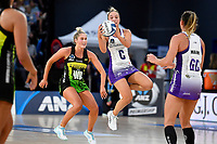 Mila Revelu-Buchanan of the Stars and Maddy Gordon of the Pulse during the ANZ Premiership match between the Pulse and the Stars at Fly Palmy Arena, Palmerston North, New Zealand on Sunday 18 April 2021.<br /> Photo by Masanori Udagawa. <br /> www.photowellington.photoshelter.com