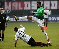 03.03.2018, Commerzbank - Arena, Frankfurt, GER, 1.FBL, Eintracht Frankfurt vs Hannover 96 , <br />Marco Russ (Frankfurt),<br />Jonathas (Hannover) *** Local Caption *** © pixathlon<br /> Contact: +49-40-22 63 02 60 , info@pixathlon.de