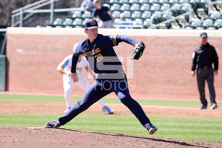CHAPEL HILL, NC - MARCH 08: Liam Simon #29 of the University of Notre Dame throws a pitch during a game between Notre Dame and North Carolina at Boshamer Stadium on March 08, 2020 in Chapel Hill, North Carolina.