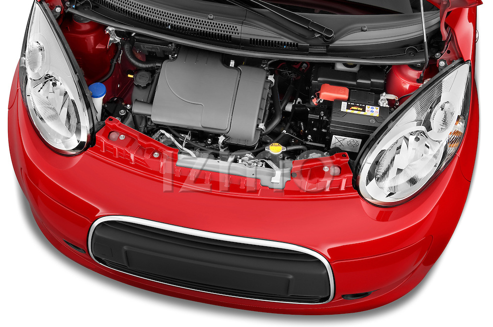 High angle engine detail of a 2009 - 2012 Citroen C1 Airplay 5-Door Micro Car Hatchback