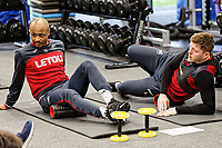 (L-R) Andre Ayew and Alfie Mawson exercise in the gym during the Swansea City Training and Press Conference at The Fairwood Training Ground, Swansea, Wales, UK. Thursday 08 February 2018