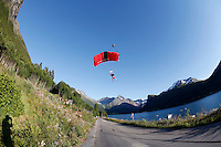 World Base Race, the first event where BASE jumpers compete to be the fastest flying human being, before deploying their parachute. The the contestants jump from a mountain in the fjord Innfjorden in Western Norway.