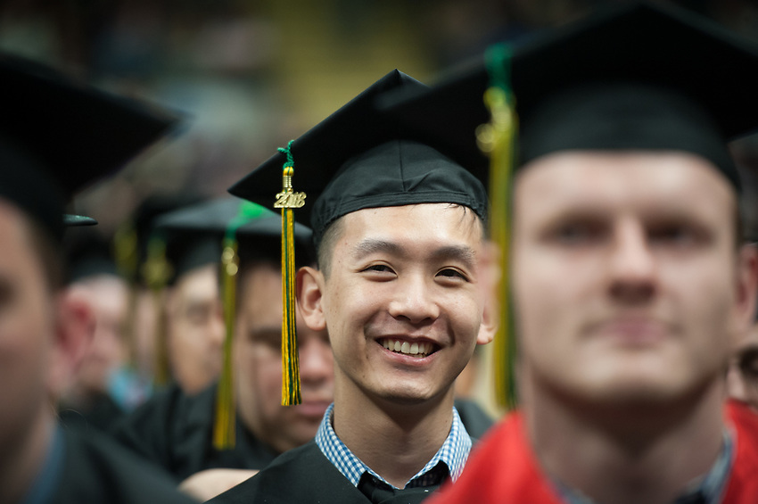 Robert Barnett, AVTE BS, after receiving his degree during the UAA Spring 2018 Commencement at the Alaska Airlines Center.