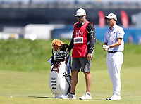 16th July 2021; Royal St Georges Golf Club, Sandwich, Kent, England; The Open Championship Tour Golf, Day Two; Collin Morikawa (USA) prepares to hit his second shot to the green on the 18th
