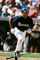 Alex Rodriguez of the Seattle Mariners during a Spring Training game  at the Peoria Sports Complex circa 1999 in Anaheim, California. (Larry Goren/Four Seam Images)