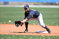 Second baseman Angelo Gumbs (21) of the New York Yankees organization during practice before a minor league spring training game against the Toronto Blue Jays on March 16, 2014 at the Englebert Minor League Complex in Dunedin, Florida.  (Mike Janes/Four Seam Images)