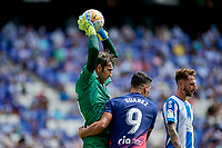 12th September 2021: Barcelona, Spain:  Diego Lopez of RCD Espanyol takes the ball high above Luis Suarez of Atletico de Madrid during the Liga match between RCD Espanyol and Atletico de Madrid at RCDE Stadium in Cornella, Spain.