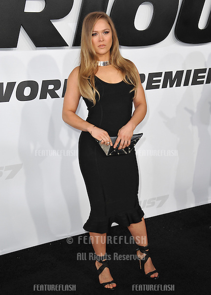 """Ronda Rousey at the world premiere of her movie """"Furious 7"""" at the TCL Chinese Theatre, Hollywood.<br /> April 1, 2015  Los Angeles, CA<br /> Picture: Paul Smith / Featureflash"""