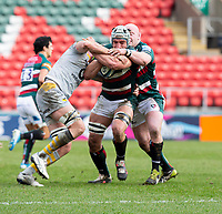 20th February 2021; Welford Road Stadium, Leicester, Midlands, England; Premiership Rugby, Leicester Tigers versus Wasps; Tomas Lavanini of Leicester Tigers is tackled by James Gaskell of Wasps