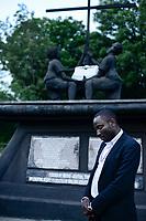 UGANDA, Kasese, St. John´s Seminary Kiburara, in 1997 the rebel group ADF has abducted here several children and forced them to serve as child soldiers, memorial for the abducted children / Mahnmal fuer die 1997 von der Rebellengruppe ADF aus dem Seminar entfuehrten Kinder die als Kindersoldaten missbraucht wurden