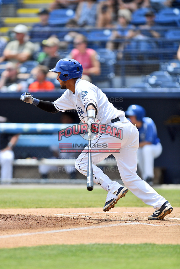 Asheville Tourists catcher Joel Diaz (5) swings at a pitch during a game against the Rome Braves at McCormick Field on June 11, 2017 in Asheville, North Carolina. The Braves defeated the Tourists 3-1. (Tony Farlow/Four Seam Images)