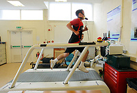 Pictured: Kerry Morgan on the treadmill<br /> Re: Swansea City FC footballers take fitness test at Swansea University Sports Science department<br /> Picture by D Legakis Photography/Athena Picture Agency, Swansea, 07815441513