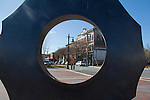 Port Townsend, Pope Marine Park, Water Street, waterfront, sculpture frames Victorian buildings, Historic District, Olympic Peninsula, Washington State, Pacific Northwest,