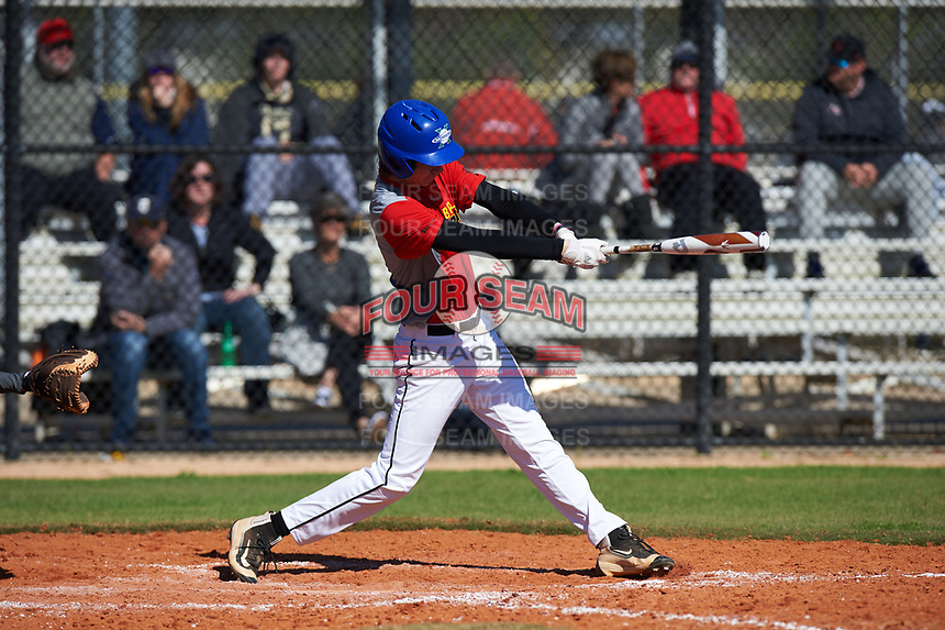 Brayden Goins (16) of Versailles, Kentucky during the Baseball Factory All-America Pre-Season Rookie Tournament, powered by Under Armour, on January 14, 2018 at Lake Myrtle Sports Complex in Auburndale, Florida.  (Michael Johnson/Four Seam Images)
