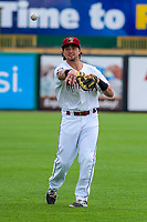 Wisconsin Timber Rattlers catcher Nathan Rodriguez (9) warms up prior to game one of a Midwest League doubleheader against the Kane County Cougars on June 23, 2017 at Fox Cities Stadium in Appleton, Wisconsin.  Kane County defeated Wisconsin 4-3. (Brad Krause/Four Seam Images)